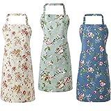 3 Piezas Delantales Florales Delantales de Cocina Ajustables Delantales de Flor Lindos de Cocina de Mujeres para Esposa Mamá Tía Abuela Hornear BBQ