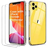 OULUOQI Compatible with iPhone 11 Pro Max Case, Tempered Glass Screen Protector [2Pack] with Shockproof Clear Case for iPhone 11 Pro Max 6.5 inch.(Clear)