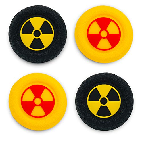 Playrealm Soft Rubber Silicone 3D Texture Thumb Grip Cover x 4 for PS5, PS4, Xbox Series X/S, Xbox One, Switch PRO Controller(Radiation Black Yellow Pack)