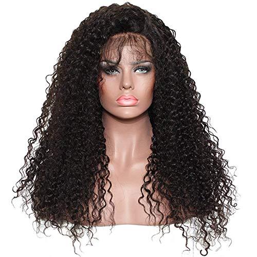 Ugeat 18 Pouce 130% Density Perruque Femme Naturelle Lace Frontal Kinky Curly Noire Naturel Couleur Bresilien Virgin Perruque Femme Vrai Cheveux Frises