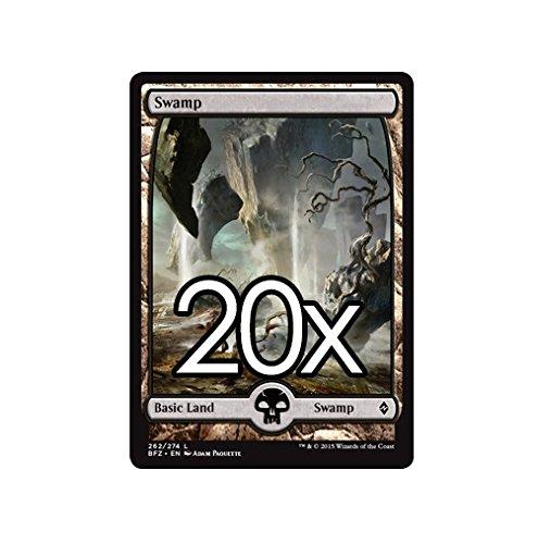 Cool Stuff Inc., LLC 20 Battle for Zendikar Swamp #262 Magic The Gathering Basic Full Art Land Lot