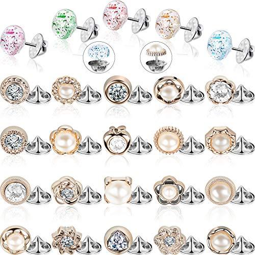 Hicarer 30 Stücke Damen Shirt Brosche Knöpfe Vertuschen Button Pin Sicherheit Brosche Knöpfe für Kleidung Kleid Lieferungen