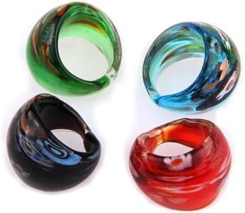 Ecloud Shop 4 X Anillos Sortijas Cristal de Murano Lampwork Flor