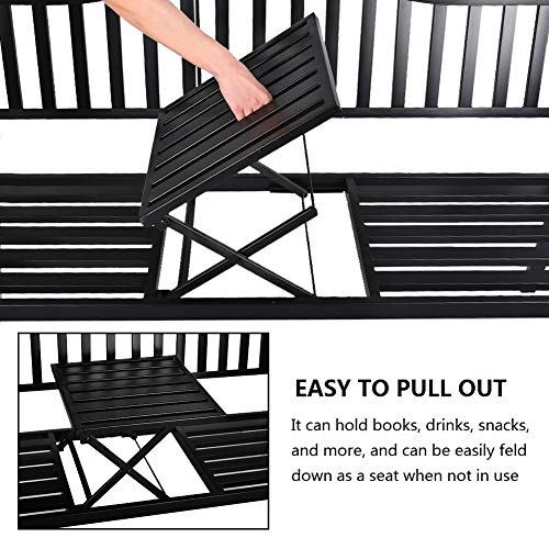 Grepatio 59 Inch Patio Bench, Metal Bench with Pullout Middle Table, Great Loveseat for Deck, Garden, Backyard - Classic Black