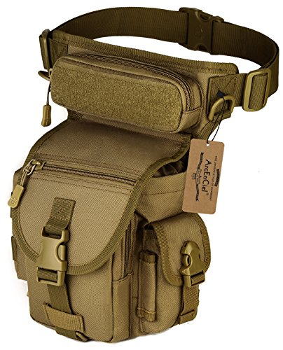 ArcEnCiel Leg Bag Tactical Military Drop Waist Thigh Hip Fanny Pack Tool Gear Pouch for Paintball Airsoft Motorcycle Riding (Coyote Brown)