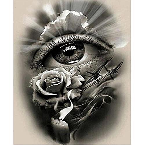 DIY 5D Pintura Diamante Taladro Completo Kit Ojos blancos negros Punto de Cruz bordado rhinestone Diamante painting Arte para adultos y niños regalos sala de estar Decoración de Pared del Hogar50x60cm