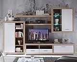 Wohnwand Anbauwand Wohnzimmerschrank 5-tlg   Weiß Hochglanz   Eiche Sonoma   LED-Beleuchtung