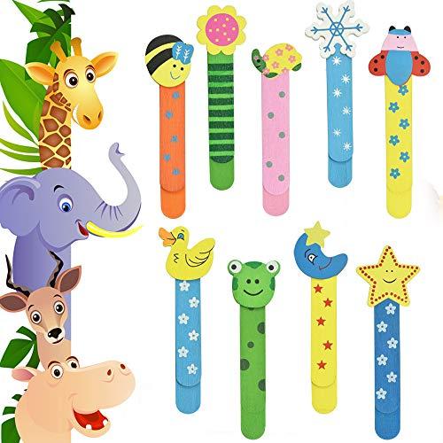 RMENOOR 40 segnalibri con righello in legno, segnalibri a forma di animale, materiale scolastico, regalo per bambini