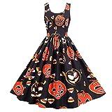 LONGLA Vestido de mujer para Halloween, sin mangas, cuello redondo, estilo túnica, estampado, elegante, moderno, cómodo, de cóctel, de fiesta, de noche., naranja, XL