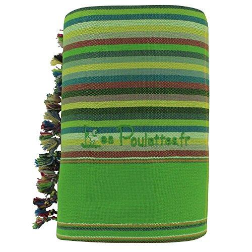 LES POULETTES Kikoy Strandtuch aus Baumwolle Streifen - Farbe Apfelgrün