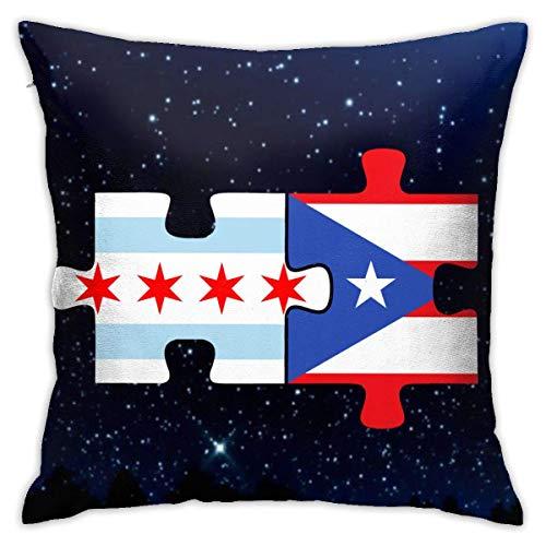 Traveler Shop Chi-CAGO Puerto Rico Flags Puzzle Funda de Almohada Funda de cojín Cuadrada Funda de cojín para el hogar Sofá Decorativo 18x18 Pulgadas
