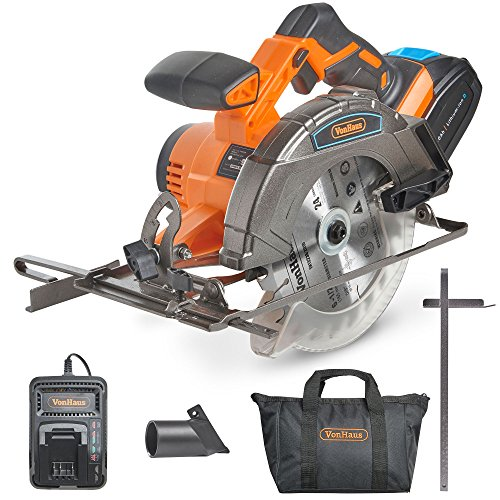 VonHaus Cordless Circular Saw with 3.0Ah Li-ion 20V MAX Battery, Charger, 1 x 165mm / 6 ½' TCT Tip...