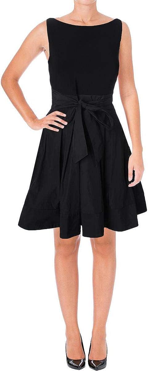 LAUREN RALPH LAUREN Womens Pleated Knee-Length Special Occasion Dress Black 12
