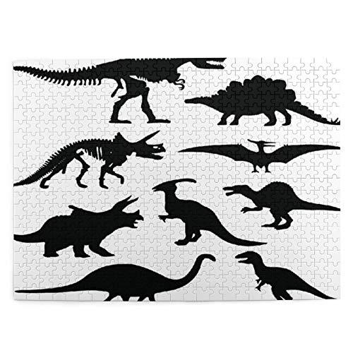DAHALLAR Talla Mediana Rompecabezas 500 Piezas,Dinosaurio Silueta Esqueleto Prehistórico Hueso,Regalo Ideal Gracioso Juego Familiar Decoración Colgante del Hogar,20.4' x 15'