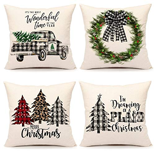 4TH Emotion Farmhouse Christmas Pillow Covers 18x18 Set of 4 Country Christmas Decorations Black and White Buffalo Plaid Truck Tree Throw Pillow Cases Cushion Cover Winter Holiday Home Decor