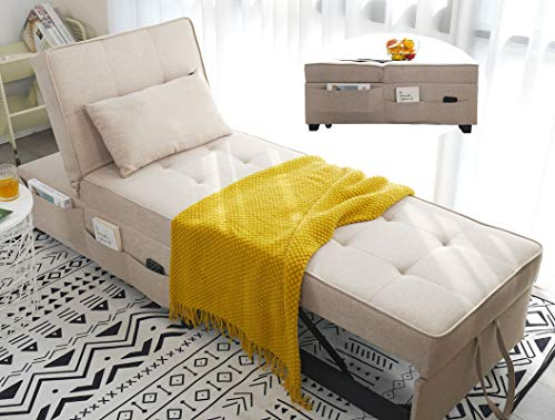 Zenosyne Sleeper Chair Bed Ottoman - 4 in 1 Multi-Function Convertible Futon Chair, Adjustable Folding Guest Bed, Linen Fabric Lumbar Pillow (Beige)