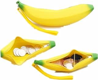 lotusflowert Cute Silicone Banana Shape Pencil Case bag Coin Bag Key Pouch(Yellow)