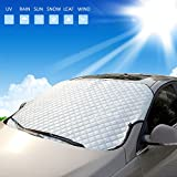 Qicool Car Windshield Snow Cover,Summer Sun Shade Winshield Protector Windproof Dustproof Universal Automotive Hood Cover Fits for Most Cars - 58''x40''