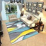 WJTHH Alfombra moderna tradicional lavable alfombra amarilla gris azul curva abstracta alfombra duradera alfombra 120 x 180 cm
