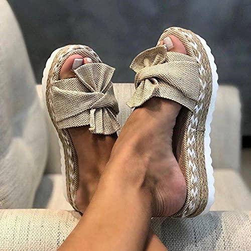 Fnho Sandalias Casual Alpargatas con Punta Cerrada,Sandalias de Talón Abierto Mujer,Zapatillas de Lazo de Moda, Pendiente Inferior Gruesa con Sandals-Apricot_38