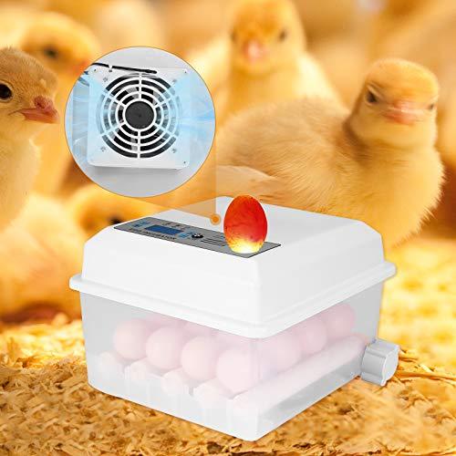 TOPQSC Vollautomatischer Inkubator 16 Digital Clear Egg Inkubator, Auto Flip Eierbrutkasten mit LED Temperatur Feuchtigkeitsregulierung zum Geflügel Enten Gänse Hühner Wachteln Reptilien