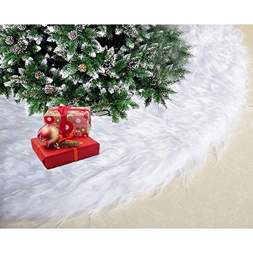Diagtree 48 Inch Christmas Tree Plush Skirt Decoration for Merry Christmas Party Faux Fur Christmas Tree Skirt Decorations (White Plush, 48')