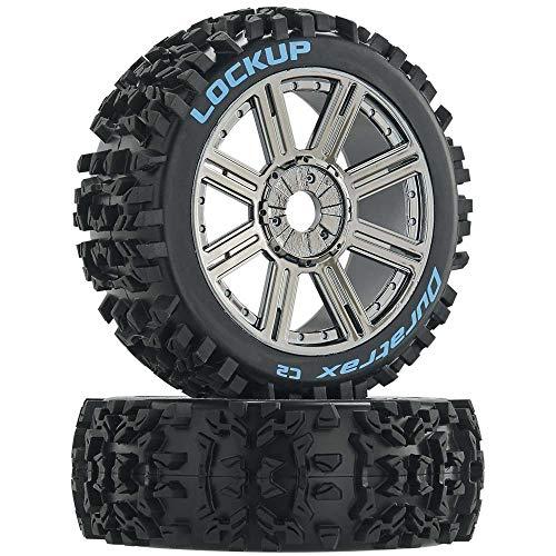 Duratrax Lockup 1/8 C2 Mounted Buggy Spoke Tires, Chrome (2)