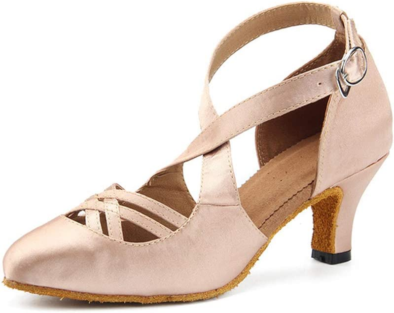 Lefuyan Women's Ballroom Dance Shoes, Women Latin Salsa Bachata Performance Dance Shoes - 6cm Heels,43