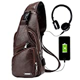 Men Sling Bag,Chest Shoulder Backpack,Water waterproof PU Crossbody Bag with USB Charging Port Business Purse (Khaki)