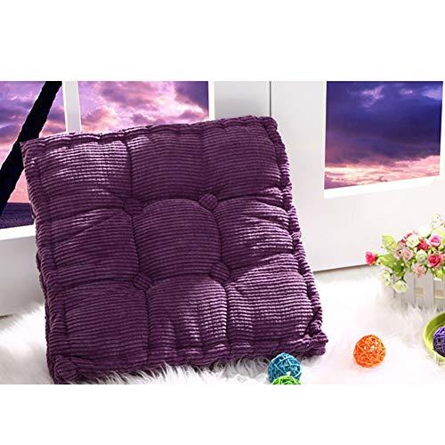 XGXQBS Manchester tyg stolskudde, mjuk vadderad stigkudde fåtölj booster stolsdyna, tatami fyrkantig tjock sittdyna – lila 40 x 40 cm (16 x 16 tum)
