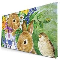 ウサギ マウスパッド 750*400mm 超大判 滑り止め 防水 おしゃれ 洗える ビジネス用 家庭用 ゲーム用