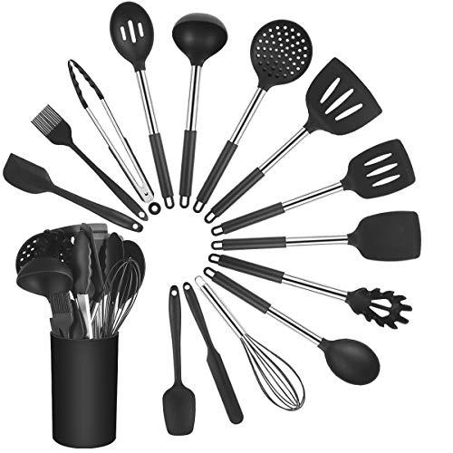 Vicloon Set di Utensili da Cucina in Silicone, 15 Pezzi Accessori Cucina Spatola per Pentole Antiaderente, Resistente al Calore Strumento di Cottura e Utensili da Cucina Professionali, Nero