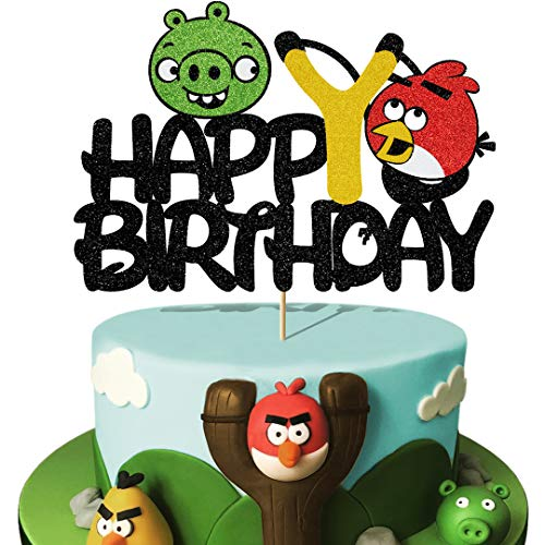 Glorymoment Cute Red Bird and Bad Piggy Birthday Cake Topper, Glitter Happy Birthday Cake Topper for Angry Birds Theme Party Decor, Kid's Men Women Birthday Party Decorations (6.7'' x 4.6'')