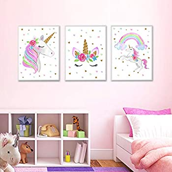 """Unicorn Wall Posters Rainbow Unicorn Canvas Wall Art Prints Painting Decoration Pictures Set of 3  8""""x11.8"""" for Girls Kids Bedroom Nursery Wall Decor Gift,No Frame"""