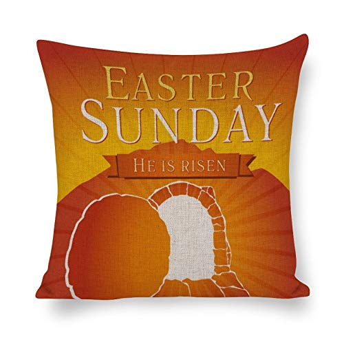 happygoluck1y Fundas de cojín para tarjetas de Pascua, Domingo de Semana Santa, 18 x 18 cm, algodón y lino, funda de almohada para decoración de sofá, coche
