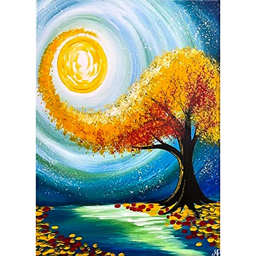 DIY 5D Diamond Painting Kits for Adults & Kids Full Drill Round Diamond Crystal Gem Art Tree Abstract Oil Painting Perfect for Home Wall Decor Gift (12x16inch)