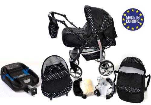 Baby Sportive – Conjunto de carrito de bebé 3 en 1 con cuna, sillita de bebé, cochecito y accesorios, negro con lunares blancos