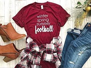 women's fall t-shirt cute football tee cute women's shirt thanksgiving t-shirt hello fall tee