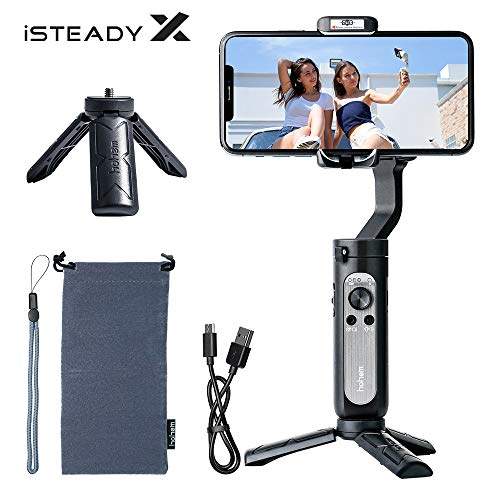 Stabilizzatore Smartphone Gimbal,Hohem iSteady X Gimbal Smartphone per iPhone12 11/Huawei/Xiaomi/Samsung,3-Assi Selfie Gimbal Stabilizzatore per Vlog YouTube Video Compatto New APP Facile Usare