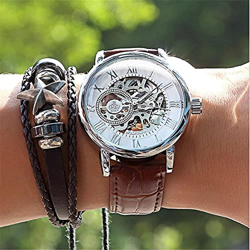 Correa de Cuero de Reloj de Hombre, Reloj de Alta Gama Impermeable Hueco automático Reloj mecánico,Blanco