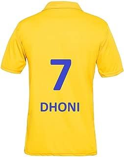 IPL Cricket CSK 2019 Jersey Supporter T Shirt DHONI 7 Custom Print Name No Chennai Super Kings Uniform