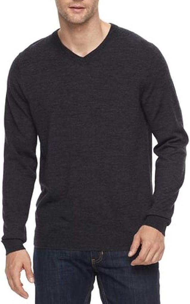 LIZ CLAIBORNE Apt 9 Mens Classic Fit Merino Wool Blend V-Neck Sweater Charcoal Big & Tall