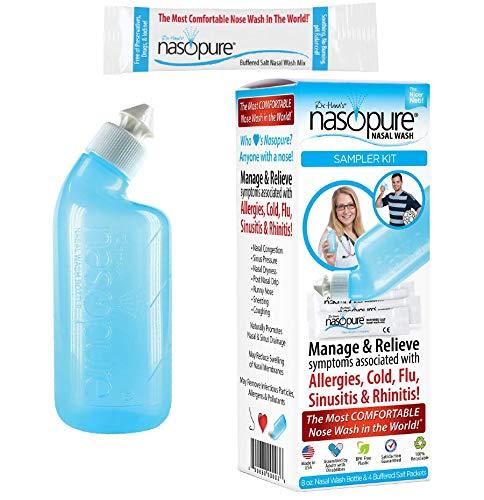 "Nasopure Nasal Wash, Sampler Kit, ""The Nicer Neti Pot"" Sinus Wash Kit, Comfortable Nasal Rinse 8 Oz Bottle & 4 Salt Packets (3.75 Grams Each), Nasal Congestion, Cold, Flu, Allergy, Nasal Irrigation"