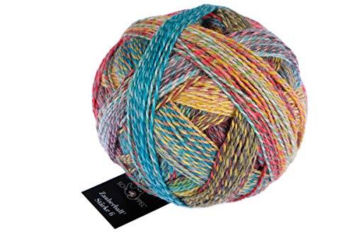 Schoppel Zauberball Stärke 6, Farbe 2248 - Zimtschnecke, 150 Gramm, bunte, dicke Sockenwolle 6-fädig mit Farbverlauf, Socken stricken, häkeln