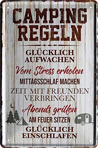 """Blechschilder Lustiger Camping Spruch: """"Camping Regeln"""" Deko Metallschild Schild für Camper Wohnmobil Wohnwagen Geschenkidee 20x30"""