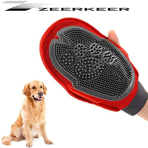Zeerkeer Pet Grooming Glove, 2 in 1 Pet Massage Glove Pet Deshedding Brush Glove Pet Hair Remover Mitt Pet Brush Glove Massage Tool with Dual Side for Dogs and Cats
