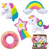 WATINC 5pz Kit de Costura Niños Unicornio Juego de Manualidades Coser Kit Manualidad de Coser...