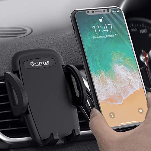 Phone Car Holder, Quntis Car Mobile Phone Holder Universal Air Vent Car Holder 360 Degree Rotation 2-Level Adjustable Car Cradle Mount iPhone SE 2020 11 XS XR X 8 7 6 5 Samsung S8 Plus S7 HTC Huawei