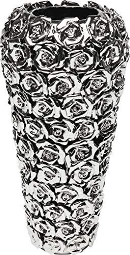 Kare Design Vase Rose Multi Chrom Big, große, dekorative Blumenvasen, hohe moderne Bodenvase, silber (H/B/T) 45x21,5x21,5cm