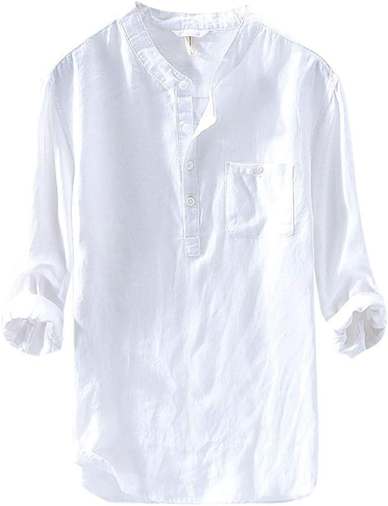 Mens Long Sleeve Henley Shirt Baggy Cotton Linen Beach Yoga Loose Fit Henleys Tops Solid Retro T Shirts Chaofanjiancai